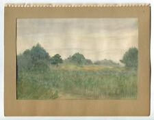 VINTAGE 1930's CALIFORNIA INDIAN HILL FOREST DAWN MORNING GOLF COURSE PAINTING