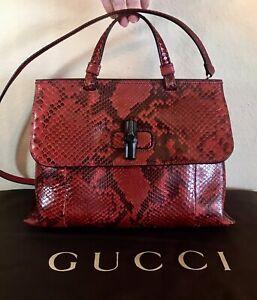 Gucci Rare Bordeaux Snakeskin Bamboo Daily Handbag Medium 2 Way Red Python Tote