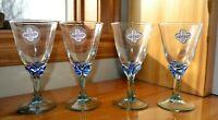 "Set of 4 Blue Stem Wine Glasses by Reflet 5 7/8"" tall EUC"