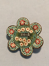 Antique mosaic inlay millefiore brooch 'Roma'