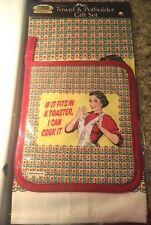 Fiddlers Elbow Cotton Towel With Matching Potholder Set If Fits In The Toaster