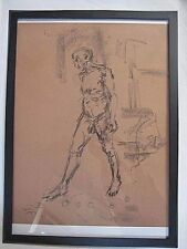 Life figure drawing, expressive, charcoal, male man standing / walking, < A1, @