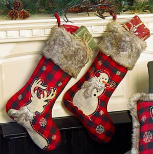 Rustic Faux Fur Trimmed Buffalo Plaid Christmas Stocking Primitive Country Lodge