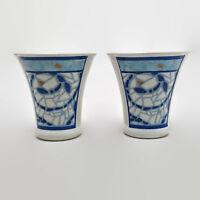Pfaltzgraff Monaco Blue & White Mosaic Pattern Salt & Pepper Shakers