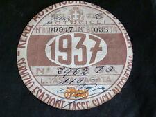 BOLLO 1937 REALE AUTOMOBILE CLUB ORIGINALE PER MOTO GUZZI  BIANCHI FRERA GILERA