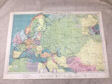 Vintage Map Europe Overland Sea Communications Far East Original Large 1920s