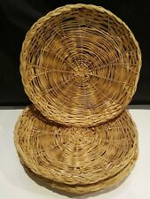 Wicker Ratan Paper Plate Holders lot of 4 picnic, cookout.