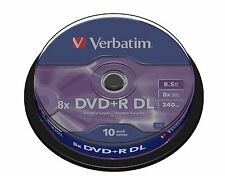 10 VERBATIM DVD+R DOUBLE DUAL LAYER 8.5GB 240 MINS BLANK RECORDABLE DL DVD