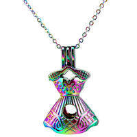 C881 Rainbow Color Dresses Beauty Girl Skirt Locket Necklace Beads Cage Pendant