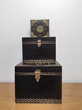 Vintage Wooden Decorative Indian Jewellery Storage Boxes Trunks Chest Antique