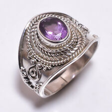 925 Sterling Silver Ring Size US 7.5, Natural Amethyst Gemstone Jewelry CR3311