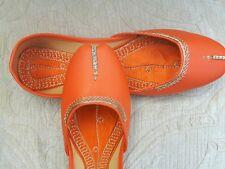 Señoras Naranja Indio Boda Khussa zapatos talla 4