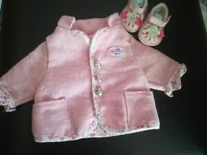 baby born dolls pink coat and pink shoes 16in with animal buttons