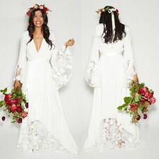 Boho Beach Wedding Dresses Bridal Gowns Long Sleeves Size 0 2 4 6 8 10 12 14 16
