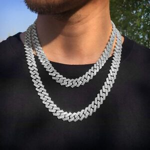 12mm Iced Out Cuban Link Chain 14K/White Gold Hypoallergenic Hip Hop Jewelry