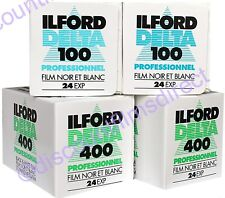ILFORD DELTA 100 & 400 35mm 24 exp. 4 FILM TRIAL PACK B&W FILM -1st CLASS POST