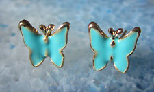 Pendientes Aros Mariposa azul esmaltado bañado en oro butterfly papillon