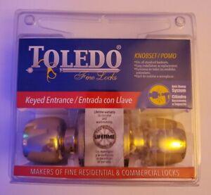 Toledo - Polished Brass - Keyed Entry Door Knob Set.