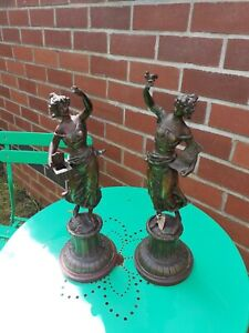 PAIR OF  FRENCH SPELTER FIGURES - MOREAU