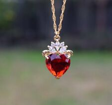 3Ct Heart Red Ruby Diamond Solitaire Pendant 14K Yellow Gold Finish Free Chain