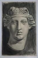 Dibujo de rostro de escultura clásica del autor Alberto Duce Vaquero.Pintado al