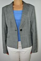 Jaeger Blazer Jacket Glen Check Grey Wool Blend Office Smart Autumn Size 16 AI