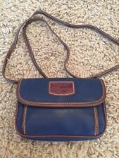 VTG 80s ESPRIT Navy Blue Brown Tiny Small Shoulder Bag Cross Body Purse