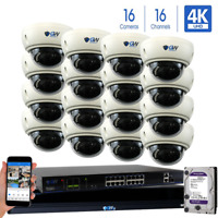 16CH NVR 16 4K 8MP Motorized Zoom Microphone IP POE Dome Security Camera System
