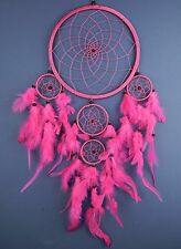 DREAMCATCHER  LARGE BRIGHT PINK GIRLS HOT PINK FUSCHIA BEAUTIFUL DREAM CATCHER