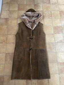 Nurseys Leather & Sheepskin Genuine Brown Long Gilett, Size 12 (EU 38), Vgc