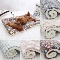 Pet Mat Paw Print Cat Dog Puppy Fleece Soft Warm Blanket Bed Cushion Mattres UK