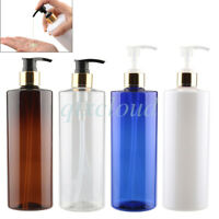 Bulk 500ml 16 Oz Empty Plastic Lotion Gold Pump Bottles for Cosmetic Gel Shampoo