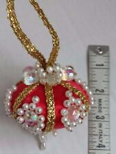 Vintage Handmade Beaded Pearls and Crystals Red Satin Christmas Ornament
