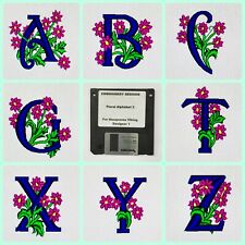 Floral Alphabet 3 Embroidery Designs Disk Floppy for Husqvarna Viking Designer 1
