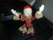 ANTIQUE WIND-UP TOY ACROBATIC CLOWN-CELLULOID HEAD/HANDS/FEET- ORIG. KEY-WORKS!