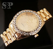 MENS ICED OUT GOLD PT CAPTAIN BLING HIP HOP BIG CZ STONES METAL BAND WATCH