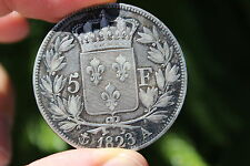 French silver coin 5 franc, 1823 Louis XVIII, 37mm, France