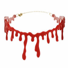 Halloween Party Red Blood Drip Chocker Necklace Gothic Fashion Jewellery Gift UK