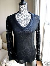 """NWT Rock & Republic """"Ice Queen"""" Black Sweater Size XS extra small Goth"""