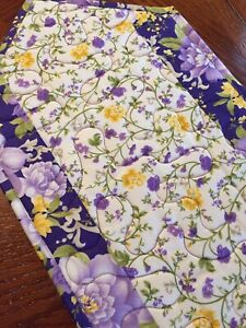 Handcrafted-Quilted Table Runner - Spring Has Sprung - NEW 2021 - Purple Floral