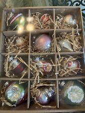 Pottery Barn MIXED VINTAGE MERCURY Christmas Holiday Ornaments Set of 12 Boxed