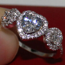 Size 9/R Lady's Handmade 925 Standard Silver Lover White Sapphire Wedding Ring