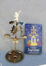 "Giant Angel Christmas Candle Sweden Brass Moving 17"" Mobile Spinning Vintage Box"