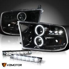 Jet Black 2009-2018 Ram LED Halo Projector Headlights+6-LED Fog Driving Lamps