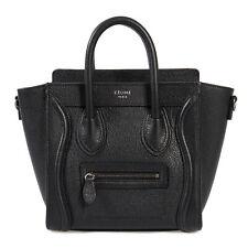 Celine Nano Luggage Black Baby Drummed Calfskin Bag