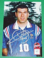 FOOTBALL CPA COCA COLA 1996-1997 FRANCE BLEUS DEDICACE ZINEDINE ZIDANE ZIZOU