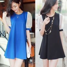 New Korean Patchwork Crew Neck Puff Sleeve Womens Shift Mini Dress Tops Casual