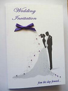 10  Beautiful Personalised Wedding Invitations Silhouette Bride & Groom + rsvp