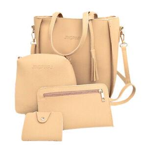 4pcs Women PU Leather Handbag Lady Shoulder Bag Tote Purse Messenger Satchel Set