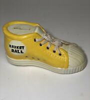 Vintage Yellow 1960s Basketball Sneaker Coin Bank w/ Stopper Ceramic Shoe Price